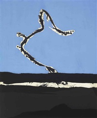 beside the sea with black stripe by robert motherwell