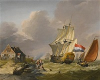 shipping in a storm off the coast by jan van os
