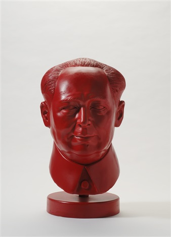 red portrait bust of mao by leonardo