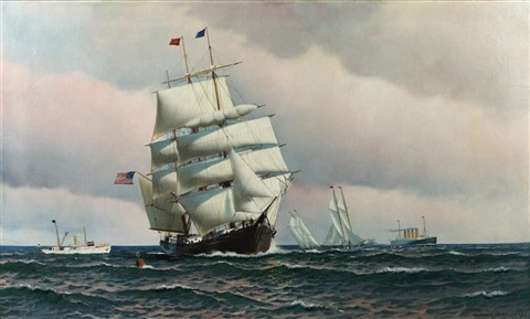 sailing ships in new york harbor by antonio jacobsen