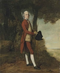 portrait of a gentleman, traditionally identified as a member of the stanley family, full-length, in a red coat and breaches, a yellow single-breasted... by john hamilton mortimer