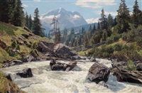 wildbach im suldenthal (ortlergebiet) und die schöntaufenspitze by georg macco