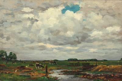 cows in the field by dirk johannes van haaren