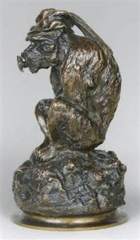 singe assis (probablement porte-encens) by christophe fratin