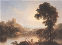italianate landscape with figures by a lake by agostino aglio