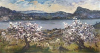 paysage aux cerisiers en fleurs by august l. roure
