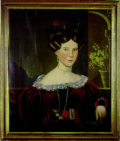portrait of martha nelson dressed in red seated before a loggia by john sherburne blunt