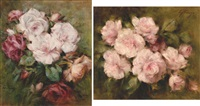natures mortes aux roses (+ another, on canvas, smllr; 2 works) by edgard fievez