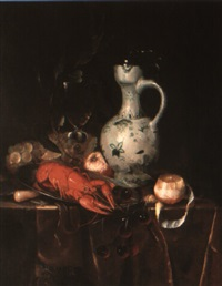 still life of a lobster on a plate, a decanter, glass and fruit on a table by harmen loeding