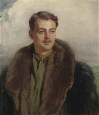 portrait of an officer, in a khaki shirt and tie and a flying jacket by hugh goldwin riviere