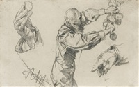 man picking fruit, with hand studies by adolph von menzel
