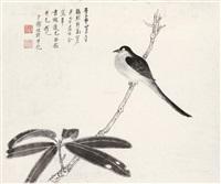 花鸟 镜片 水墨纸本 by zhang daqian and xie zhiliu