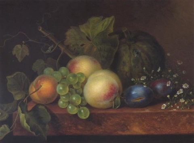 obstilleben mit melone pfirsich und weintrauben by johanna maria pieternella heijmans