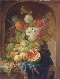 melons, grapes, a lemon, peaches, plums, cherries, white currants, gooseberries, a bird's nest and other things on a draped marble ledge by johannes hendrik fredriks