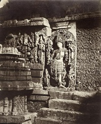 sculpture and stairs at the entrance to the garden of hoysaleswara temple, halebidu by richard banner oakeley