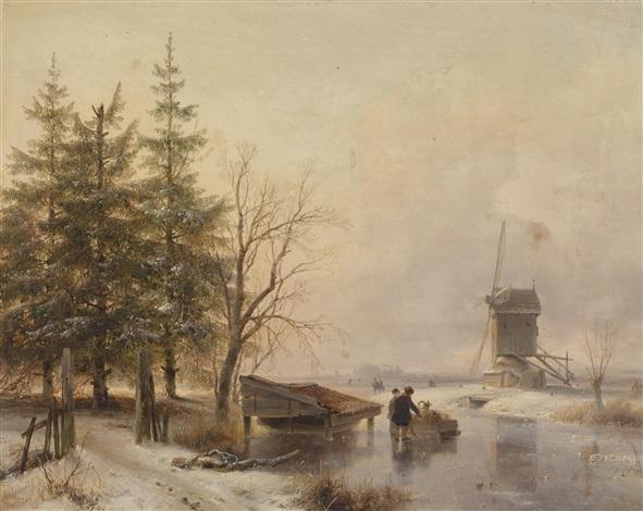 holländische winterlandschaft mit schlittschuhläufern by andreas schelfhout