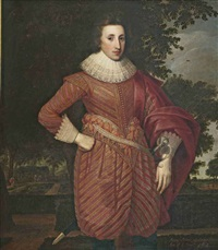 portrait of a gentleman (henry, prince of wales?) in full breeches and a high-waisted doublet with ribbon points at the waist, with a red silk satin... by anglo-flemish school (17)
