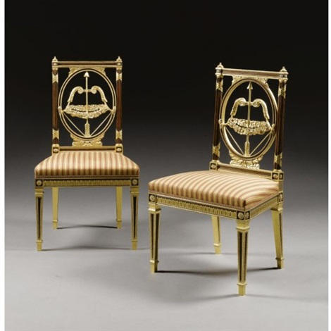 a pair of late george iii style side chairs after henry holland by