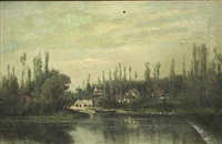 a river landscape with poplars along the river bank by peter edward rudell