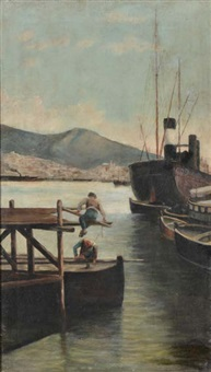 mattina d'inverno nel porto di genova by antonio varni
