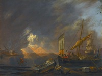 a mediterranean coast at dawn with a galliot preparing to unload its cargo beside classical architectural fragments, a frigate being caulked beyond by lieve pietersz verschuier