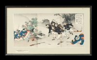 the fall of fenghuangcheng and in the chinchon region, five military engineers of japan rout over one hundred chinese soldiers (pair) by toshikata