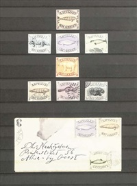 lichaam en geest - eight stamps and one envelope in a frame by donald evans