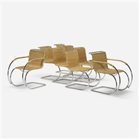 mr10 chairs (set of 8) by ludwig mies van der rohe