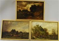 pastoral landscapes (3 works) by charles henry miller