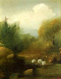 landscape with sheep by adam kos