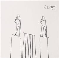 ohne titel (menschen am tisch) by oswald tschirtner