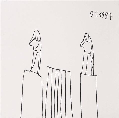 ohne titel menschen am tisch by oswald tschirtner