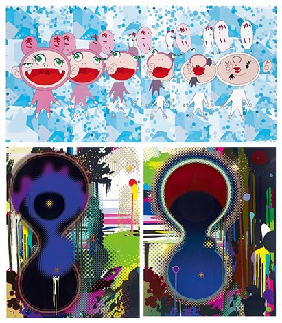 a涅槃 b雙子座星雲 c指南針 nirvana 2 others 3 works by takashi murakami