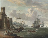 a mediterranean harbour with stevedores loading ships by a city gate, a dutch man-of-war and other shipping beyond by abraham jansz storck