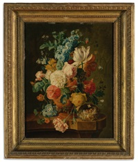 a still life with carnations, primula, grapes, peaches, plums, raspberries, apricots, maize, walnuts and hazelnuts before an urn on a stone ledge (+ a still life with roses...; 2 works after paul theodor van brussel) by johannes christianus roedig