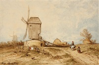 vue de hollande : le moulin by auguste paul charles anastasi