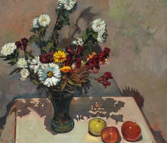 stillleben mit blumenstrauß und äpfeln by pavel hromnickij