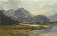 a highland loch with cattle in the foreground by duncan cameron