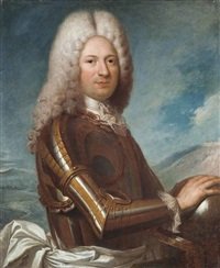 portrait of a gentleman, half-length, in armour, a landscape beyond by jean ranc