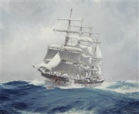the four-masted wool clipper port jackson cutting through a heavy swell under reefed topsails by jack spurling