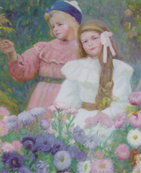 young girls in a summer garden by max nathan
