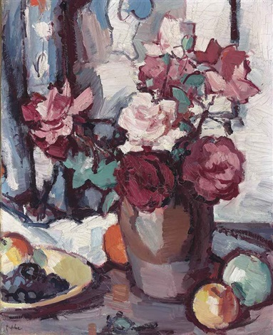 still life with roses, grapes and apples by samuel john peploe