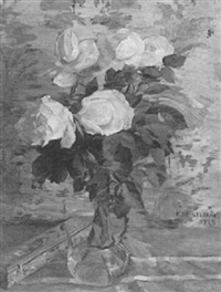 still life of white roses by vincenzo de stefani