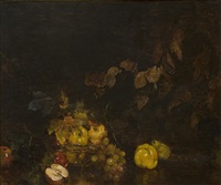 stilleben med frukter, kvistar och blad by axel peter