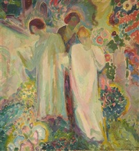 three women in a garden by henry mccarter