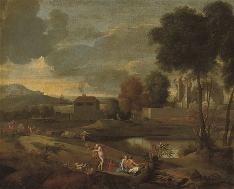 a classical landscape with nymphs and satyrs by jean françois