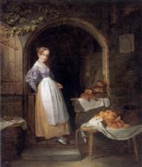 das bäckermädchen steht mit ihren backwaren in der eingangstür ihres alten hauses by johann friedrich karl kreul