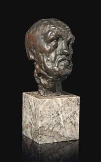 petite tête de l'homme au nez cassé, esquisse pour la porte de l'enfer - variante avec cou symétrique by auguste rodin