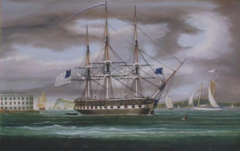 uss constitution in new york harbor off castle williams with staten island in the distance by thomas chambers