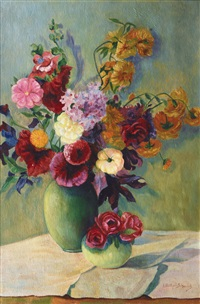 summer flowers in a green vase by ernst müller-scheessel